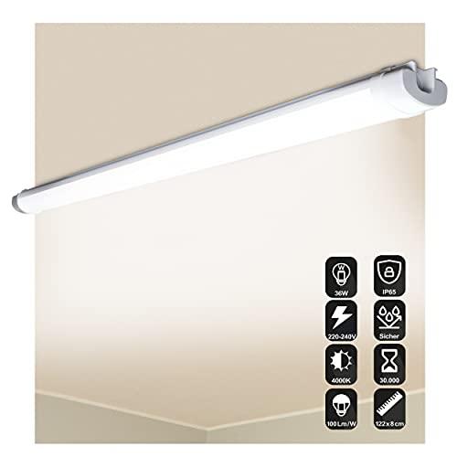 NF-Lux   LED Feuchtraumleuchte 122cm – [36W / 3600LM] LED Röhre – IP65 Wasserdichte LED Leuchtstoffröhre - für Keller, Garage, Werkstatt, Büro und Außenbereich 4000K [Energieklasse A+]