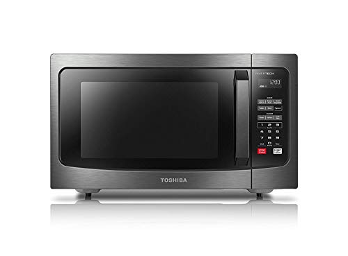 Toshiba ML-EM45PIT(BS) Microwave Oven with Inverter Technology, LCD Display and Smart Sensor, 1.6 Cu.ft, Black Stainless Steel (Renewed)