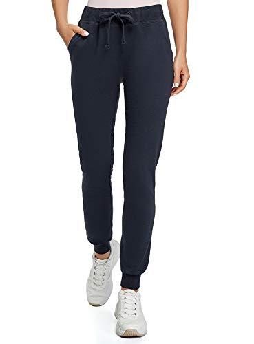 oodji Ultra Mujer Pantalones de Punto con Cordones, Azul, ES 38 / S