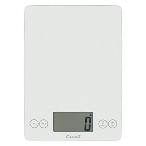Escali Arti Glass Kitchen Scale 15 lb 7 kg Capacity 005 oz 1 g Increment Premium Digital Scale for Baking Cooking and Food Easy to Clean Surface Lifetime ltd Warranty - Frosted White