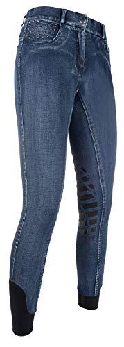 HKM Erwachsene Reithose-Rimini Denim Used-Silikon-Kniebesatz6100 Hose, 6100 Jeansblau, 40