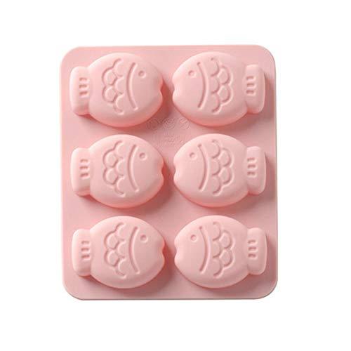 Ardentity - Stampo per Torta in Silicone, 6 Pesci Anche di Disegno Animati stampini di Fabbricazione di Torte, stampi di Cottura per Fai da Te Rosa