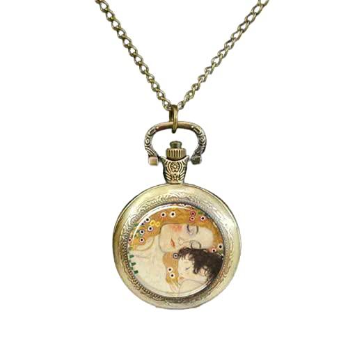 Gustav Klimt Fashion Art Taschenuhr Bronze Vintage Taschenuhr Frauen Schmuck Beste Freundin Geschenk