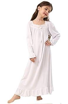 PUFSUNJJ Lovely Girls Princess Nightgown Soft Cotton Sleepwear Kids 3-12 Years Off White