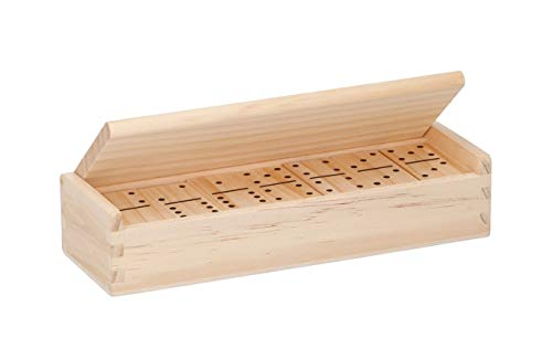 Invero Juego de 28 juegos de dominó doble de madera de 28 piezas, completo con caja de almacenamiento de madera con tapa abatible, ideal para todos los adultos y niños