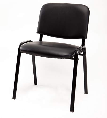 Notek Srl Set di 6 sedie per Sala Attesa Imbottite impilabili in Eco Pelle - Ufficio Studio Riunione Sala conferenza (Nero)