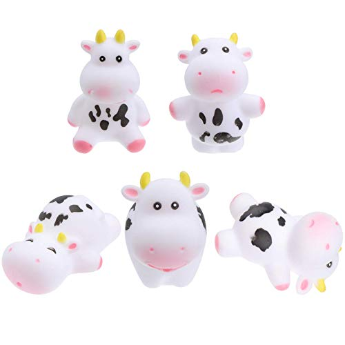 5pcs Baby Bath Toy Mini Cow Figure Figurine Plastic Floating Animal Bathtub Toys Water Toys Table Ornament for Toddlers Kids Qingchunw