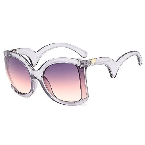 Heigmznvtyj Gafas de Sol Mujer Polarizadas, Gafas de Sol cuadradas de Gran tamaño cuadradas de Moda para Damas Retro (Lenses Color : Gray Purple)