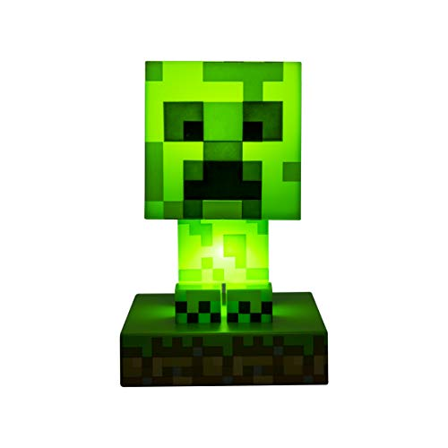 Paladone Minecraft Creeper 3D Icon Light BDP | Offiziell lizenziertes, grünes, pixeliges Nachtlicht oder Schreibtischlampe | Einzigartige Geschenkidee für Gamer | angetrieben durch 2 x AAA, PP6593MCF