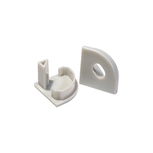 2x Endkappen für das Alu-Modell ECKE-Rund von Alumino® eins ohne und eins mit Bohrung für das LED-Kabel