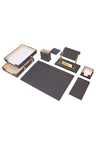 Calme-D Lux - Juego de escritorio (10 piezas, con doble bandeja para documentos, 49 cm x 34 cm, piel sintética, con placa para nombre personalizado, en 10 colores a elegir), color gris