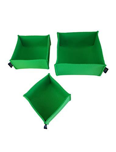voigt design Filz-Körbchen 3er-Set Piccolo (20 Farben) - Korb - Box - Aufbewahrung - Utensilienkorb - Brotkorb - Obstkorb - Regalkorb - eckig - quadratisch (133 grün)