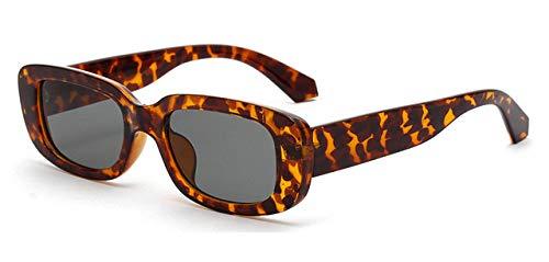 ZKYXZG Gafas de sol retro rectangle sunglasses men black leopard summer male sun glasses for women fashion,as show in photo