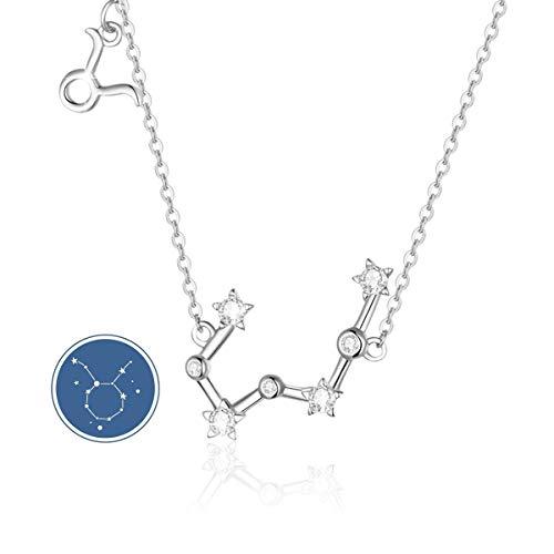 SIMPLOVE Plata de Ley 925 Mujer Collares 12 Constelaciones Colgantes Signos Astrológicos Zodiacos para el Cumpleaños Día de la Madre Joyas de Regalo 16.5'+1.2'
