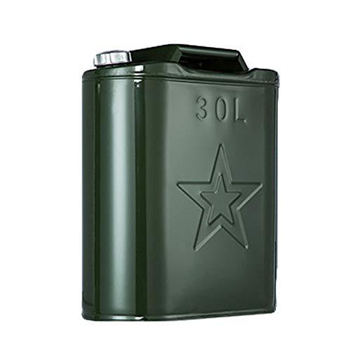 Ouumeis Tanica qualità Jerry in Metallo Verde 30L, coperchio del secchio in lamiera alluminio Contenitore bombole combinata economico gallone Serbatoio carburante+ beccuccio Senza perdite