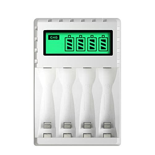 4 Ranuras con Pantalla LCD Cargador De Batería Inteligente Carga Rápida para Batería Recargable Nicd Nimh AA / AAA De 1,2 V
