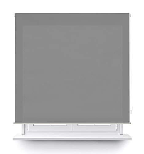 MERCURY TEXTIL Estor Enrollable translúcido Liso (Gris, 120x180cm)