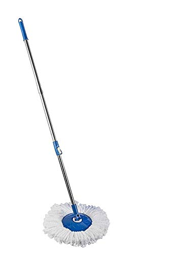 Mantavya Mop 360° Spin Cleaning Mop Stainless Steel Rod Handle Stick Set with Mop 1 Microfiber Refill for Home and Bathroom Floor Tiles Usable Things
