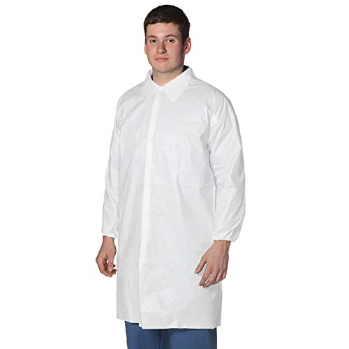 EOM High Performance SMS Disposable Lab Coat With Knit Cuffs and Collar, Thigh Length Color White (10, X-Large)