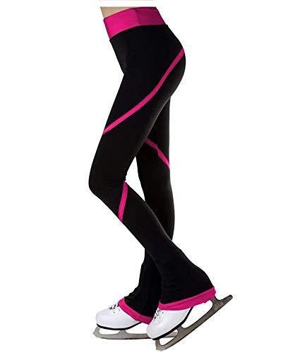 Whlucky Eiskunstlauf Hose Spiral Polarfleece Schlittschuhhose für Mädchen Damen, Skater Training Sportbekleidung Gamaschen,Fuschia,155cm
