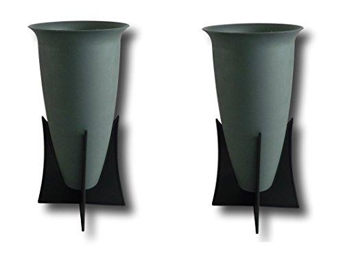 2 x Grabvasen Grabvase mit Ständer Friedhofsvase Blumenvase Vase für Grab Friedhof Standvase Kunststoff grau