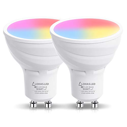LOHAS GU10 LED Smart WiFi Light Bulbs, Dimmable RGB Daylight Warm White 2700K-6000K, 50W Halogen Bulbs Equivalent for Track Light Spotlight, Work with Alexa, Google Assistant, Siri, No Hub, 2Pack