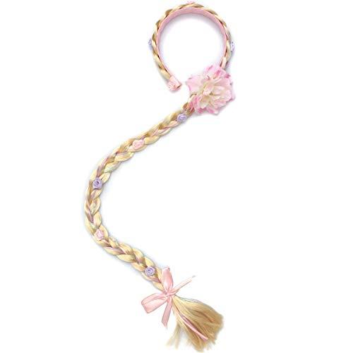 LHKJ Haarreif Prinzessin Zopf geflochten Haartei Kinder Haarband Kopfschmuck Haarschmuck für Party Cosplay Kostüm Rosa mit Blume