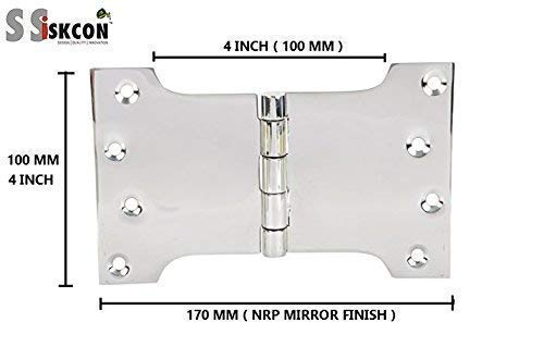 Ssiskcon Parliament Door Hinge Wide Throw Expandable Swing Clear Reversible Interior Exterior Nrp Mirror Polished 32 Stainless Steel 4 Inch x 4 Inch x 6 Inch with 8 Self Drilling Screws (Pack of 1)