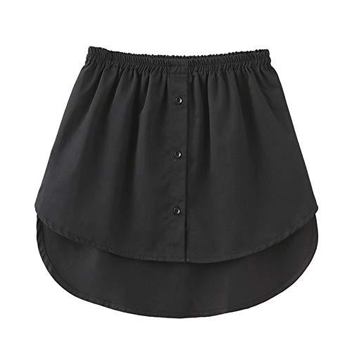Accesorios de tela de bricolaje, falda, falda falsa para mujer, falda irregular, blusa con dobladillo de cola, algodón desmontable, color negro M