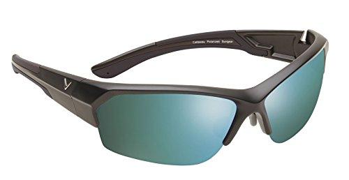 Callaway Sungear Raptor Golf Sunglasses - Matte Black Plastic Frame, Gray Lens w/Green Mirror