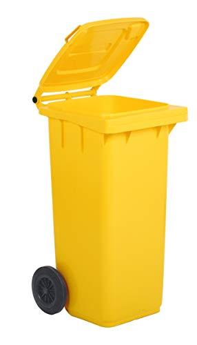 Mobil Plastic Poubelle à roulettes pour le tri sélectif de déchets 120 l pour usage extérieur – Jaune (UNI EN 840)
