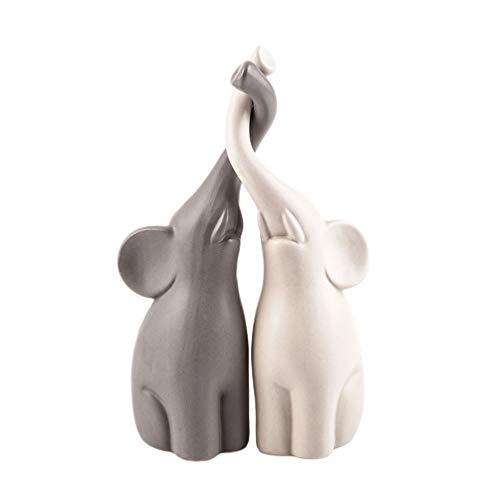 BESPORTBLE 2 Pairs of Ceramic Figurines Elephant Statue Desktop Decoration Ceramic Decoration Animals Set Crafts Ornaments Home Decor