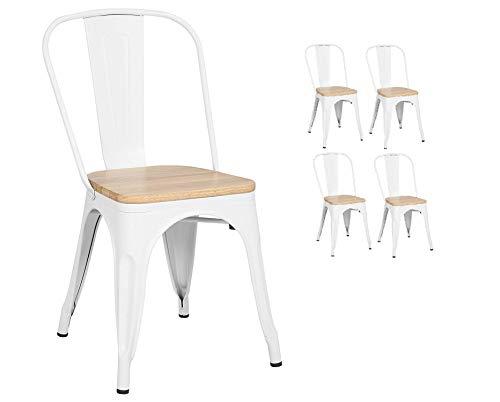 KOSMI - Set di 4 sedie in metallo bianco e stile industriale in legno chiaro bianco opaco metallizzato e seduta in legno chiaro
