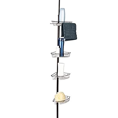 LDR Industries Corner Tension Pole Shower Caddy by LDR | 4 Large Baskets, Open Wire Design For Easy Draining, Fits All Baths And Shower Stalls- No Need To Cut, Rust Resistant, Bronze Finish