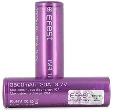 EFEST 3500 mah 20A IMR High Drain Flat Top Single Battery (2 in a Pack) - with Protective Plastic...