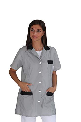 tessile astorino Bordado gratuito – Bata de trabajo para mujer – Gris y negro – uniforme para maestra, empresas de limpieza, peluquería, peluquería, escuela infantil – casaca personalizada gris XXL