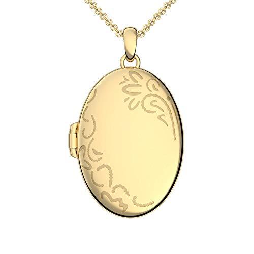 Medaillon oval groß Gold hochwertig vergoldet Amulett antik Vintage (Medalion, Medallion) zum Öffnen antik, aufklappen, aufklappbar mit Kette für Foto Gelbgold Kette + FF103 VGGG45