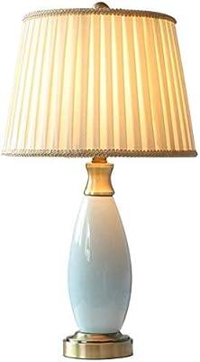 XZJJZ Moderna Sala de Mesa de cerámica de la lámpara, Simple jardín Decorativo Lámpara de Mesa, Plegado de Tela Pantalla: Amazon.es: Hogar