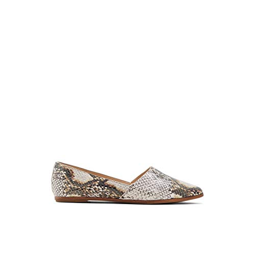 ALDO Women's Blanchette Slip-On Flat Loafer, Natural Snake, 5