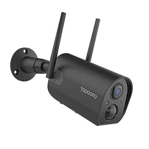 Camara de Vigilancia WiFi Exterior sin Cables, Batería Recargable de 10400mAh, Topcony 1080P Cámara IP de Seguridad con Impermeable, Visión Nocturna,Detección de Movimiento PIR, Audio de 2 Vías