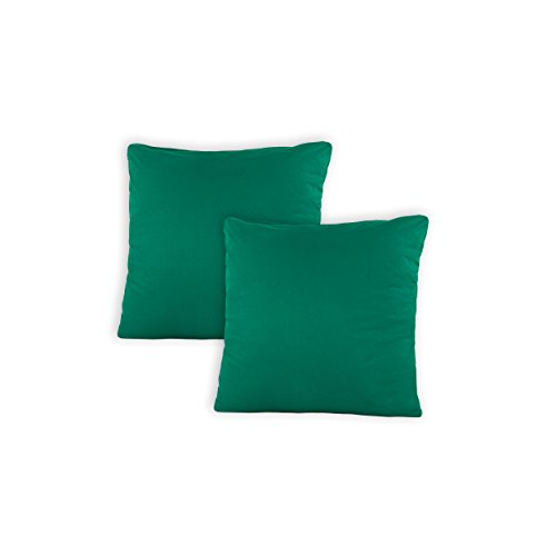 SHC - Kissenbezug 2er-Set für Dekokissen, 100{d7f435026b14f795c41ec427f61e2b5afe4366c4e317c2d8d97885cae0844fb5} Baumwolle mit Reißverschluss - 50x50 cm, Emerald/smaragdgrün