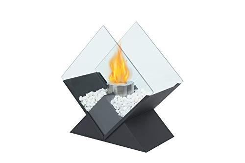 JHY Design Diamond Tabletop Feuerschale Topf 37 cm hoch Tragbarer Tischkamin - sauber brennender Bio-Ethanol-Ventless-Kamin für Veranstaltungen im Innen- und Außenbereich