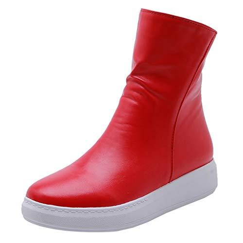 Yowablo Stiefel Frauen Mode Herbst Flacher Reißverschluss Einfarbige Mitteltube Runde Zehen Schuhe (37,rot)