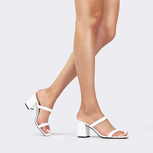 J. Adams Stormi Block Heel - Double Band Square Open Toe Slide Heeled Sandal (White Pu, Size: 8)