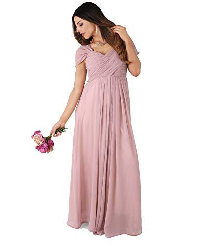 KRISP Damen Kreuz Front Bodenlanges Ballkleid, Abendkleid mit Herzausschnitt und Feinen Details- Gr. 46 (2XL), Altrosa (4815)