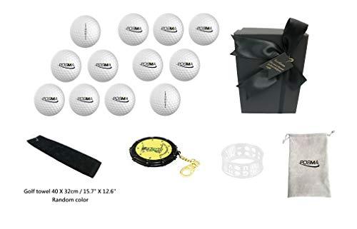 POSMA GBS010D Golfbälle Tourbälle Geschenkset mit 12 Stück 2-teilige Golfbälle, einem Golfhandtuch, einem 18-Loch-Schlagzähler, einem Ring-Ballliner und einer Flanell-Geschenktasche in eleganter Geschenkbox