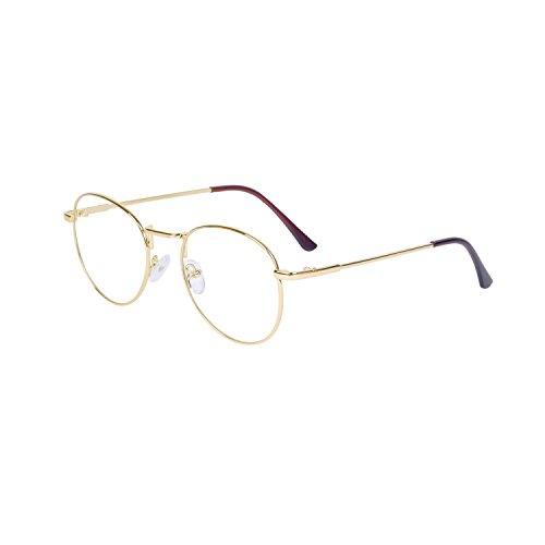 JoXiGo Retro Rund Brille für Damen und Herren Ohne Stärke Klassische Nerdbrille Metallgestell Brillenfassung Unisex Vintage Dekobrillen mit Etui