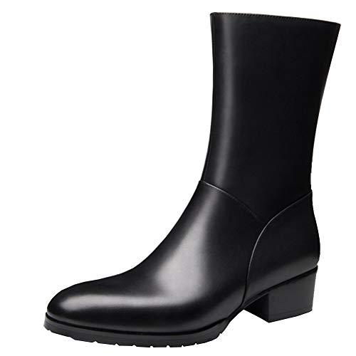 QPNDOX Chesil Stiefel, schwarze Stiefel - Mittlere Stiefel Koreanische Version von Lederstiefeln, Lederreißverschluss Lederstiefel.-42