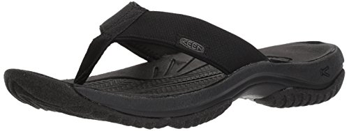 KEEN Men's KONA FLIP-M Flat Sandal, Black/Steel Grey, 11.5 M US