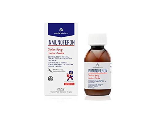 Inmunoferon Junior Jarabe - Complemento Alimenticio, Refuerza el Sistema Inmunológico, Ayuda a las Defensas, Sin Gluten, Sin Lactosa ni Proteína de Leche de Vaca, 150ml